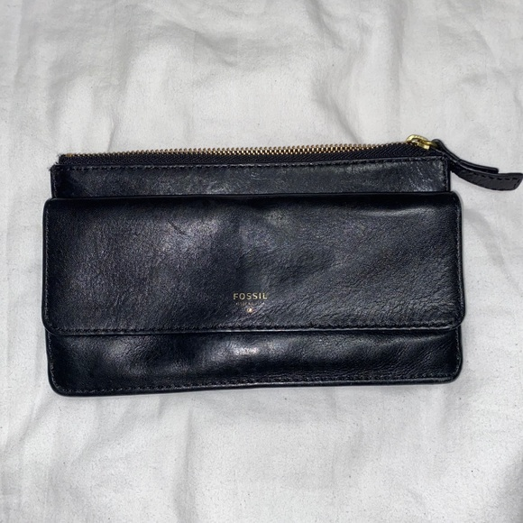 Fossil Black Cow Hide Leather Wallet